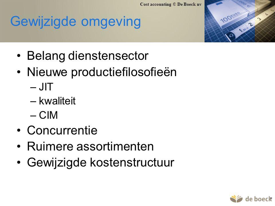 Gewijzigde omgeving Belang dienstensector Nieuwe productiefilosofieën