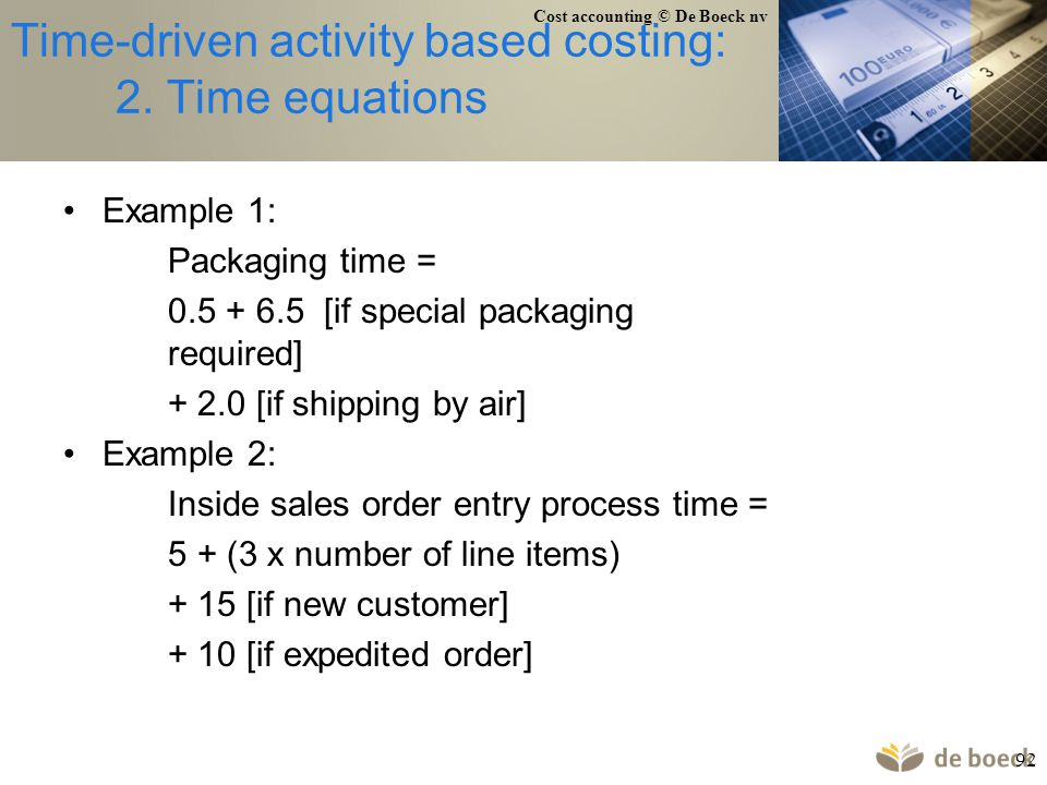 Time-driven activity based costing: 2. Time equations