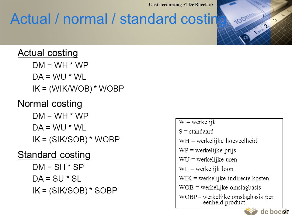Actual / normal / standard costing