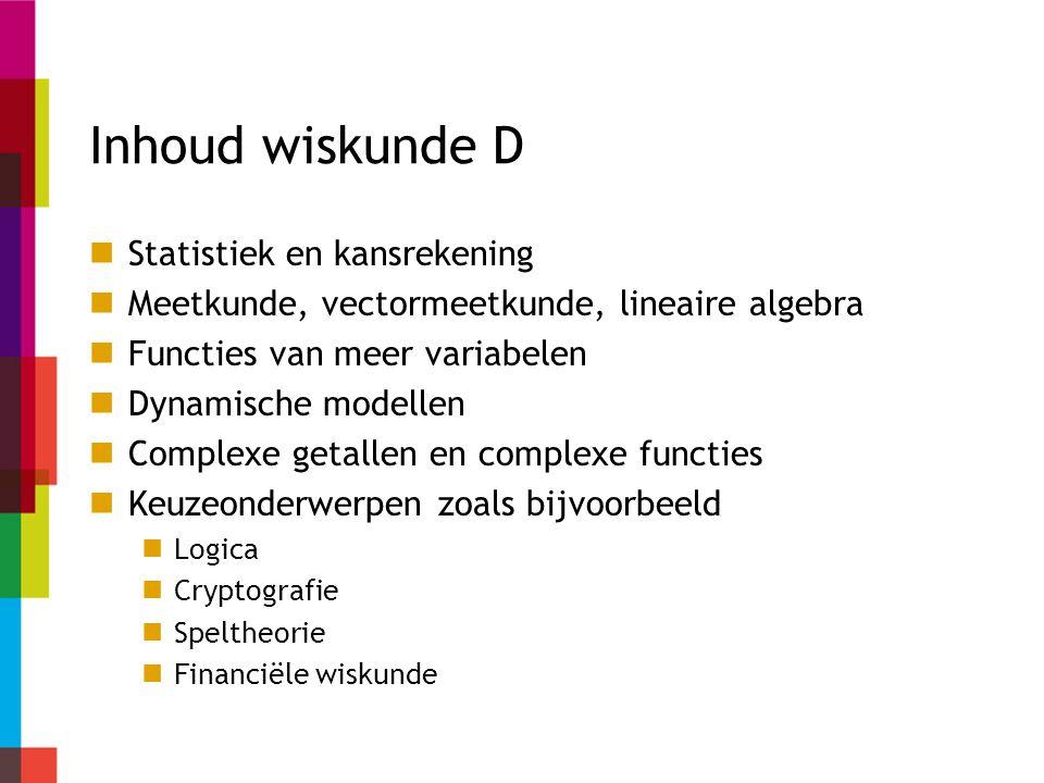 Inhoud wiskunde D Statistiek en kansrekening