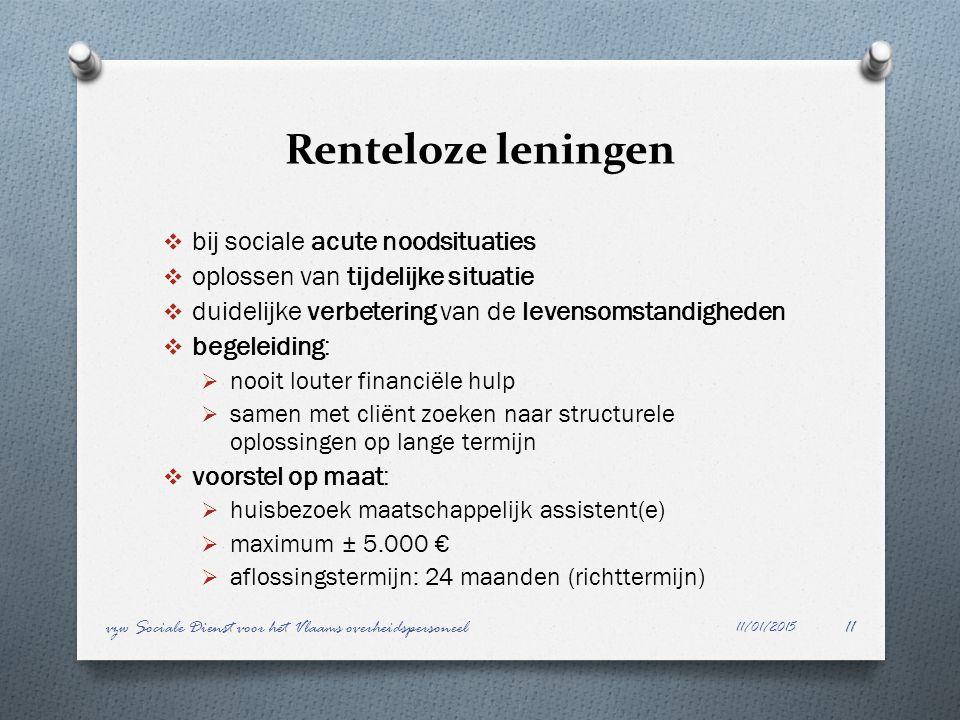 Renteloze leningen bij sociale acute noodsituaties