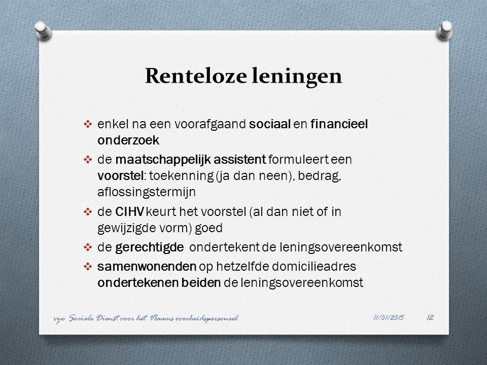 Renteloze leningen enkel na een voorafgaand sociaal en financieel onderzoek.