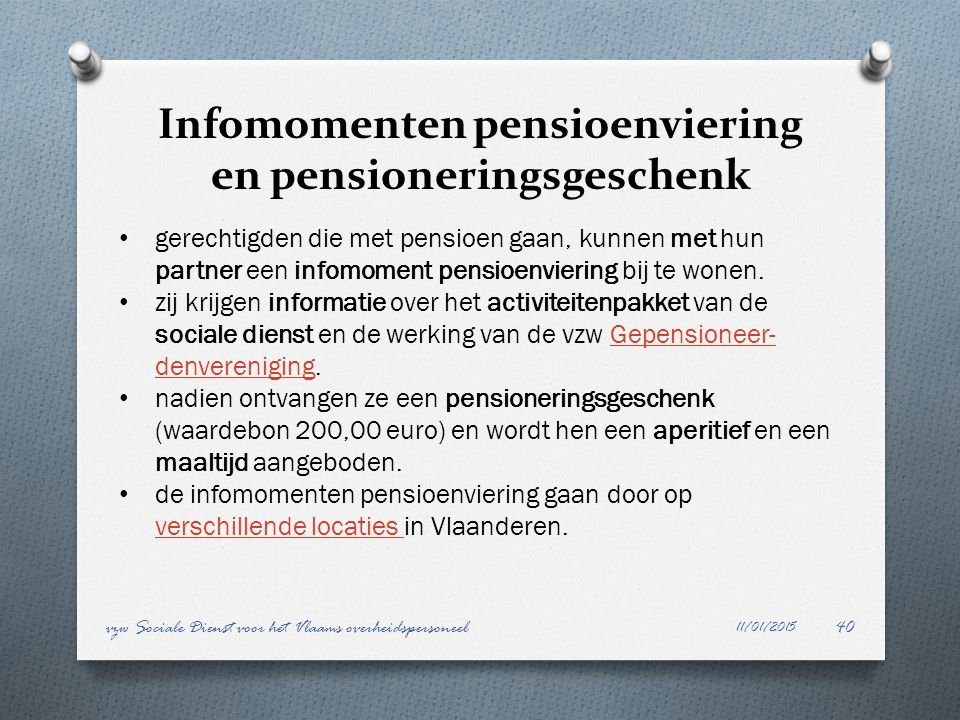 Infomomenten pensioenviering en pensioneringsgeschenk