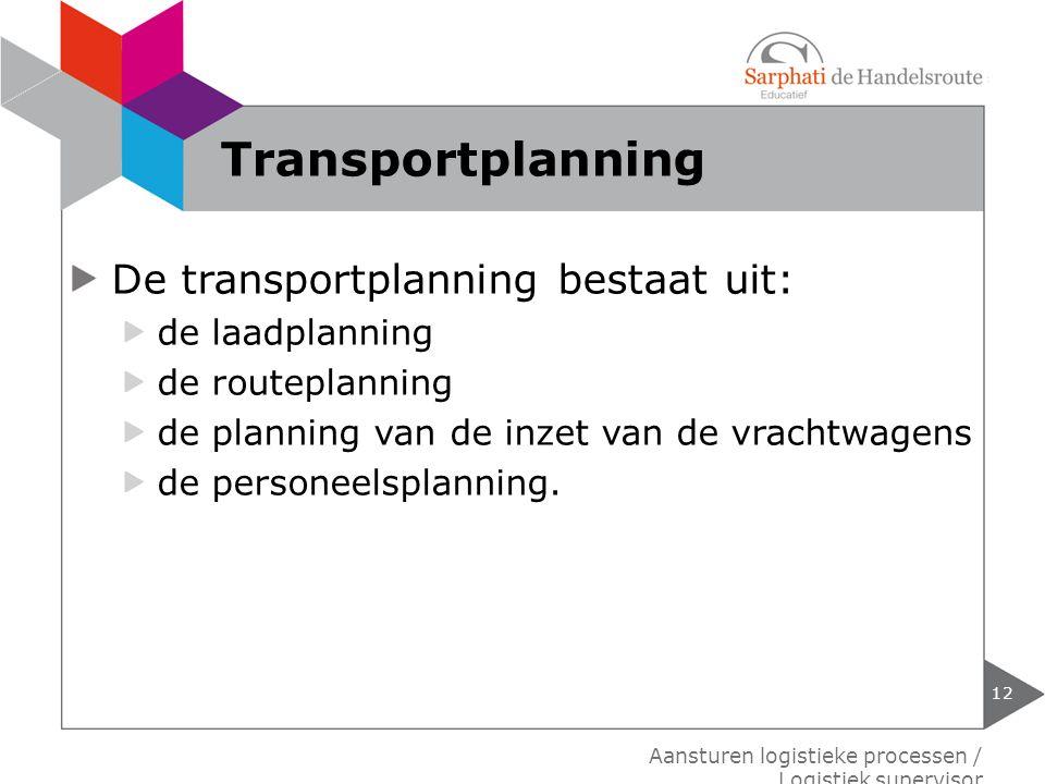 Transportplanning De transportplanning bestaat uit: de laadplanning