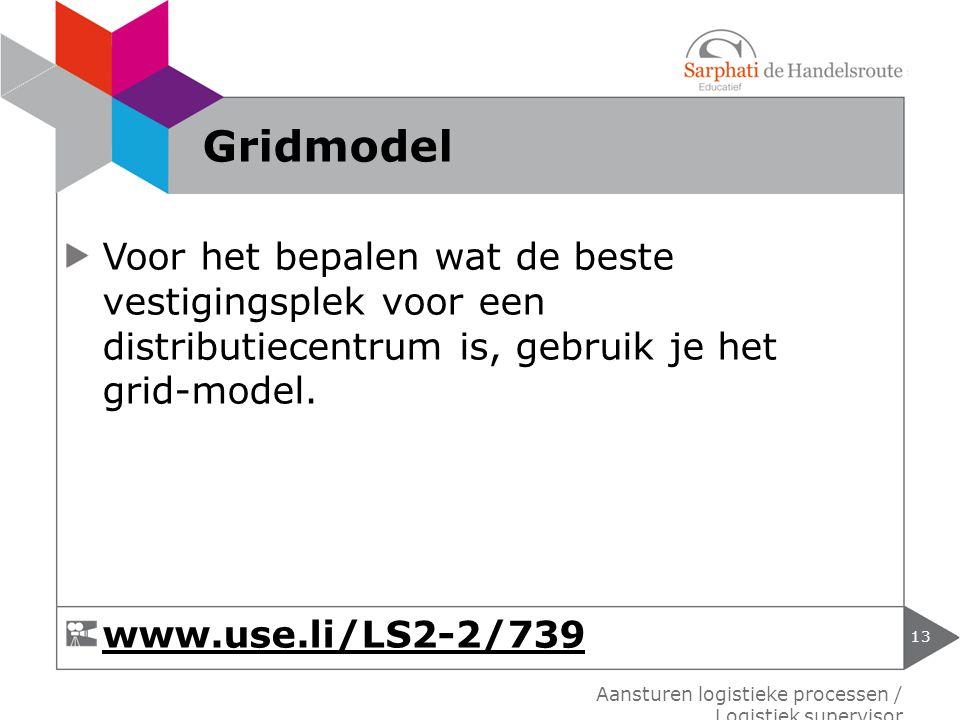 Gridmodel Voor het bepalen wat de beste vestigingsplek voor een distributiecentrum is, gebruik je het grid-model.