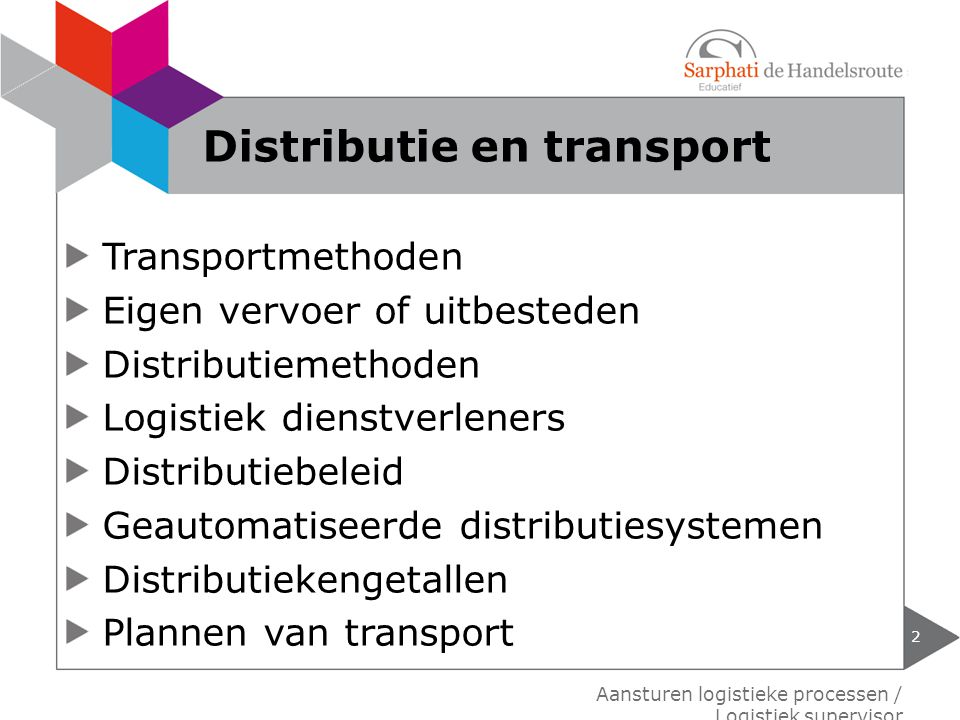 Distributie en transport