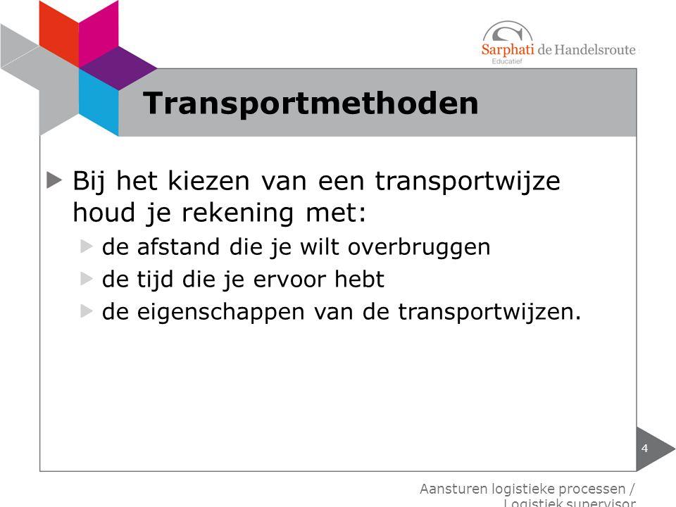 Transportmethoden Bij het kiezen van een transportwijze houd je rekening met: de afstand die je wilt overbruggen.
