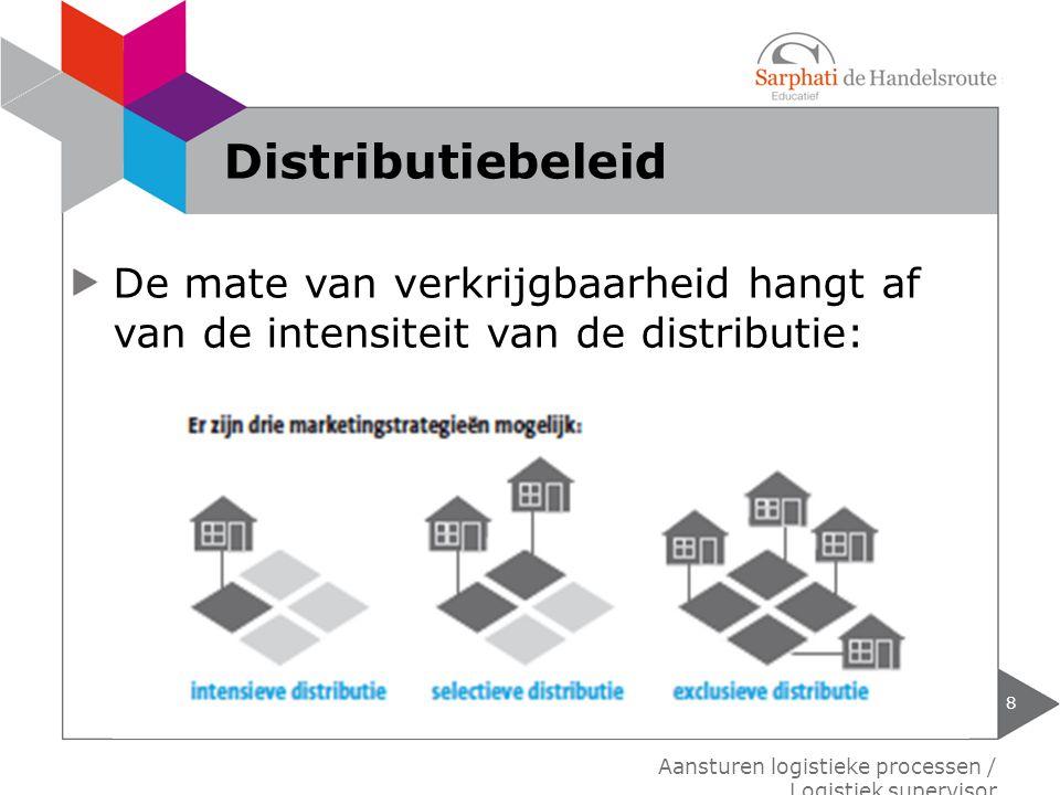 Distributiebeleid De mate van verkrijgbaarheid hangt af van de intensiteit van de distributie: Aansturen logistieke processen / Logistiek supervisor.
