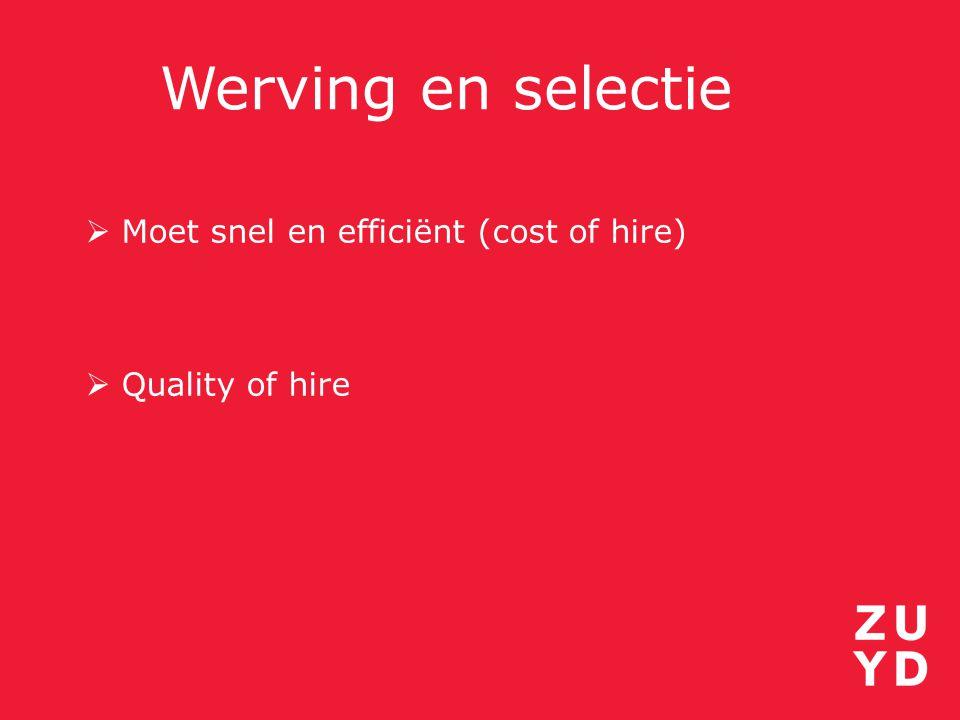 Werving en selectie Moet snel en efficiënt (cost of hire)