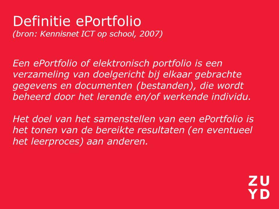 Definitie ePortfolio (bron: Kennisnet ICT op school, 2007)