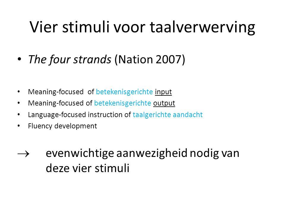 Vier stimuli voor taalverwerving