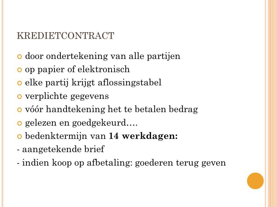 kredietcontract door ondertekening van alle partijen