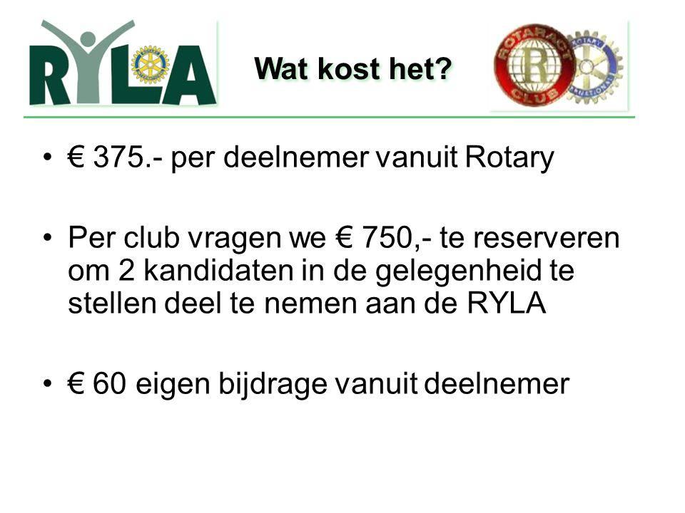 Wat kost het € 375.- per deelnemer vanuit Rotary.