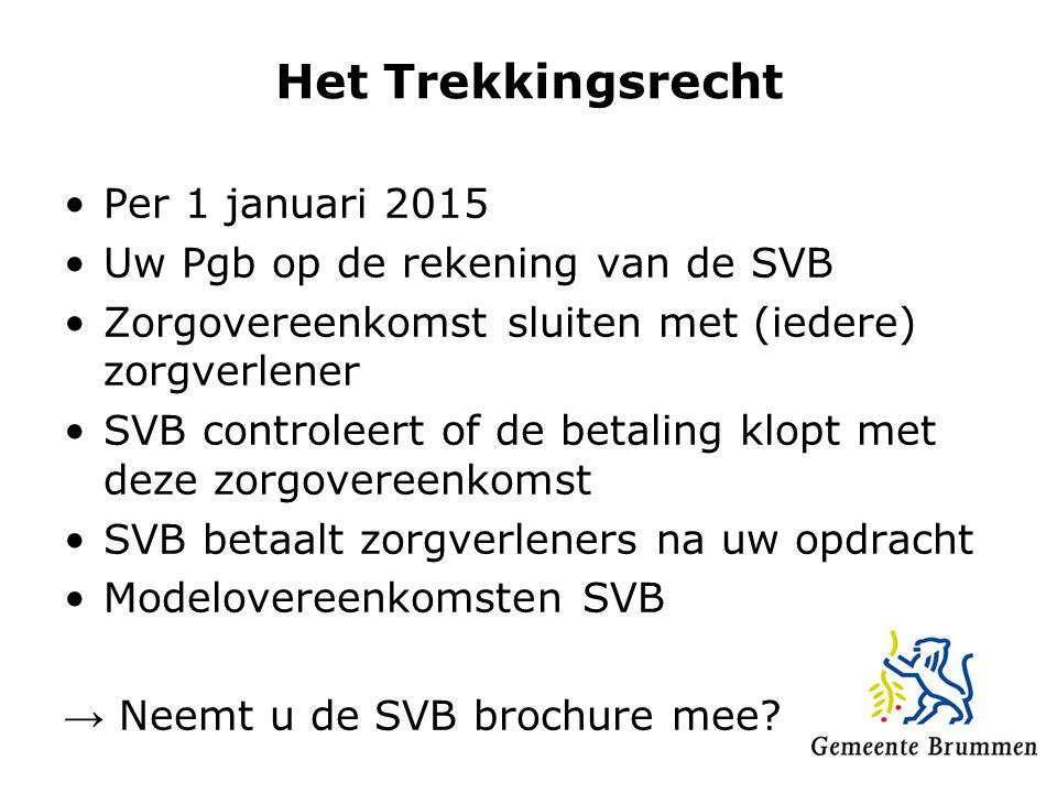 Het Trekkingsrecht Per 1 januari 2015 Uw Pgb op de rekening van de SVB