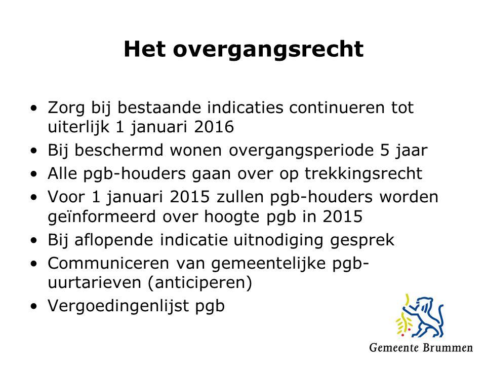 Het overgangsrecht Zorg bij bestaande indicaties continueren tot uiterlijk 1 januari 2016. Bij beschermd wonen overgangsperiode 5 jaar.