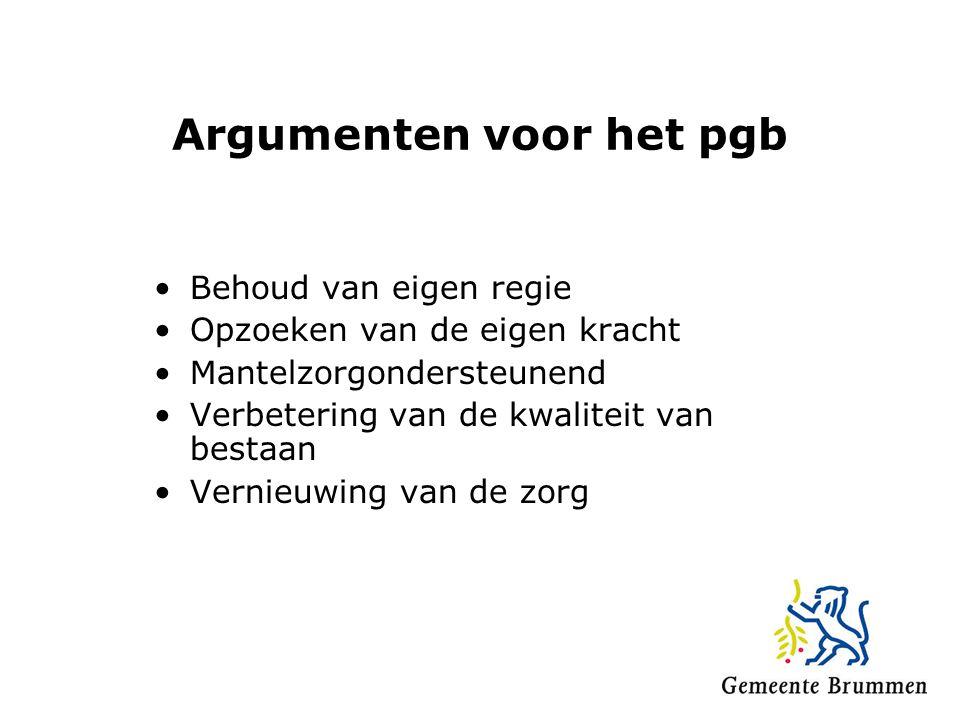 Argumenten voor het pgb