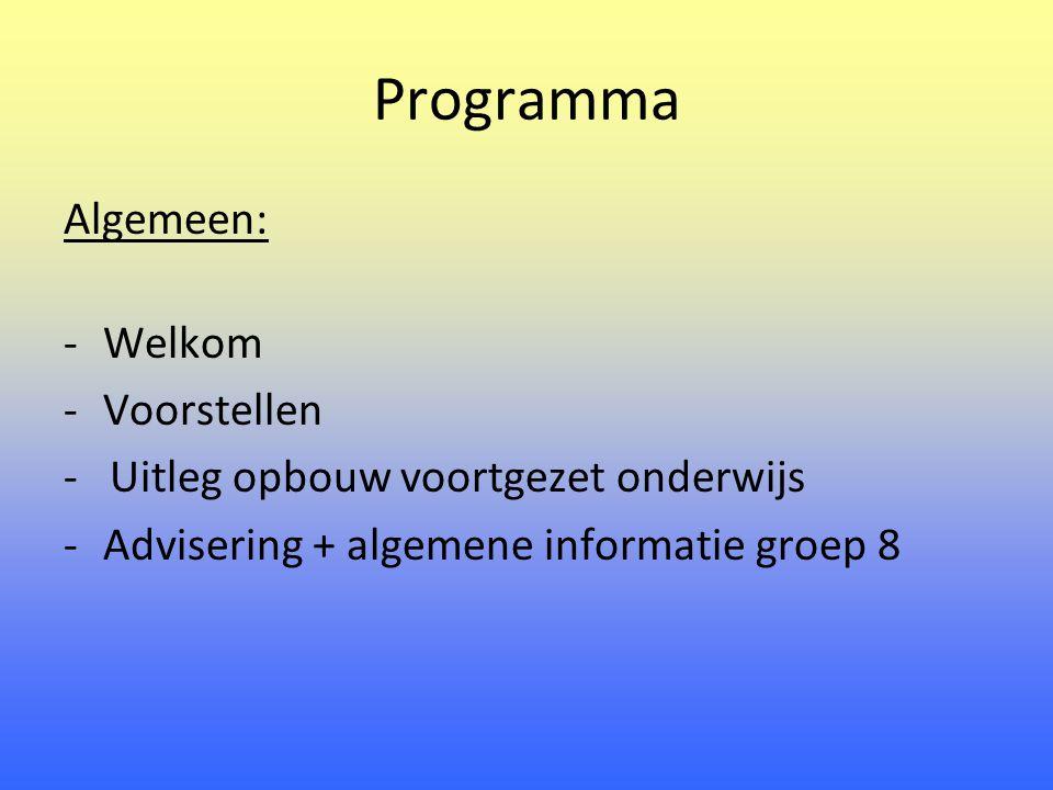Programma Algemeen: Welkom Voorstellen