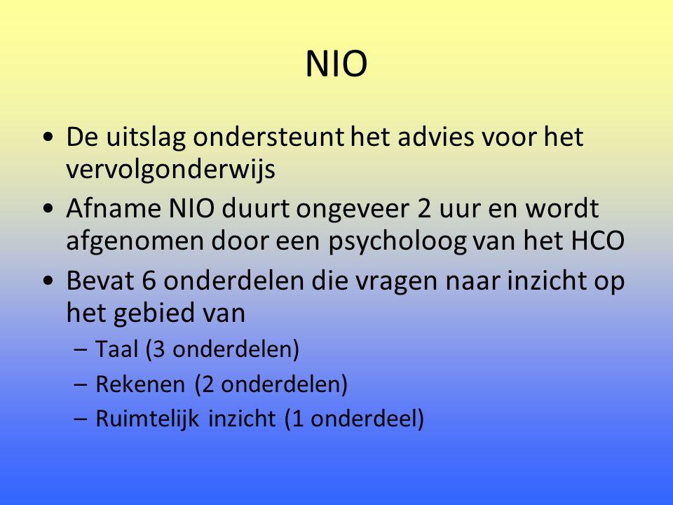 NIO De uitslag ondersteunt het advies voor het vervolgonderwijs