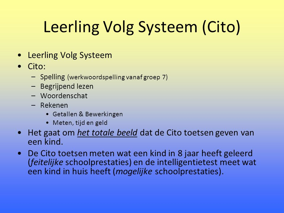 Leerling Volg Systeem (Cito)