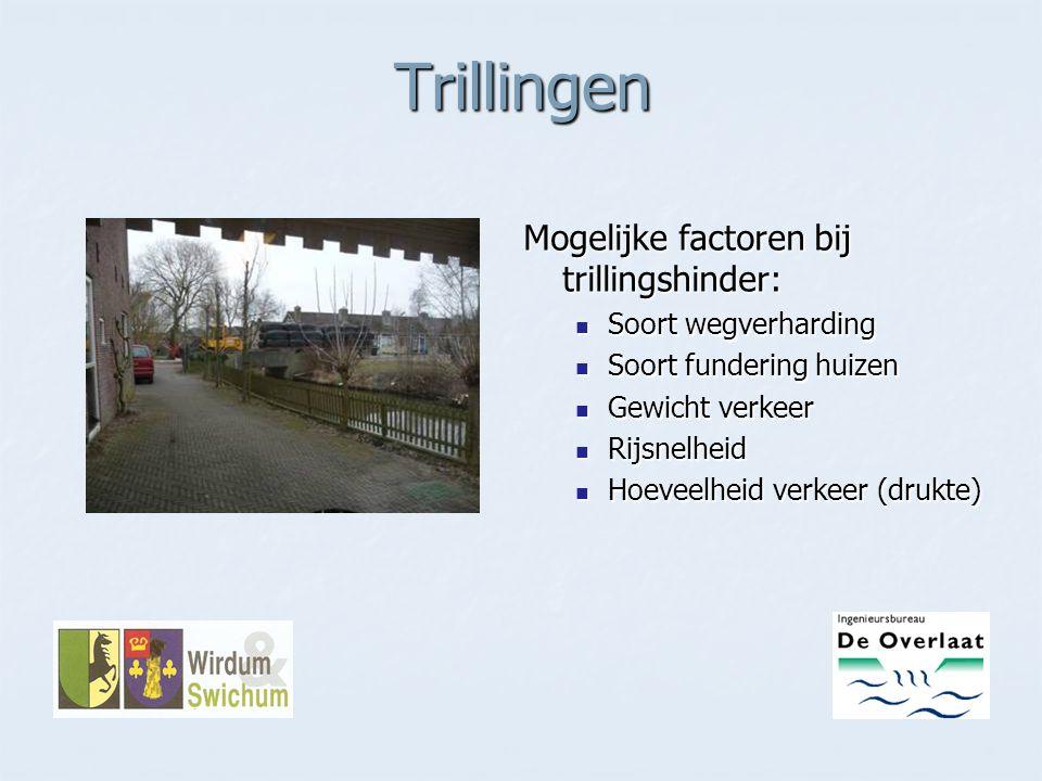 Trillingen Mogelijke factoren bij trillingshinder: Soort wegverharding