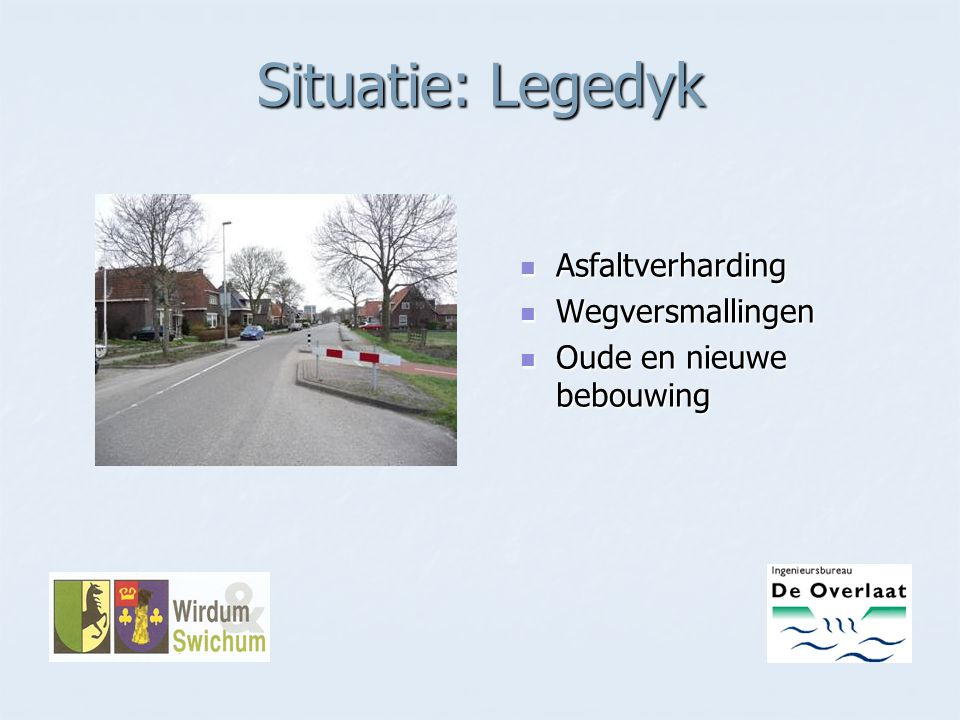Situatie: Legedyk Asfaltverharding Wegversmallingen