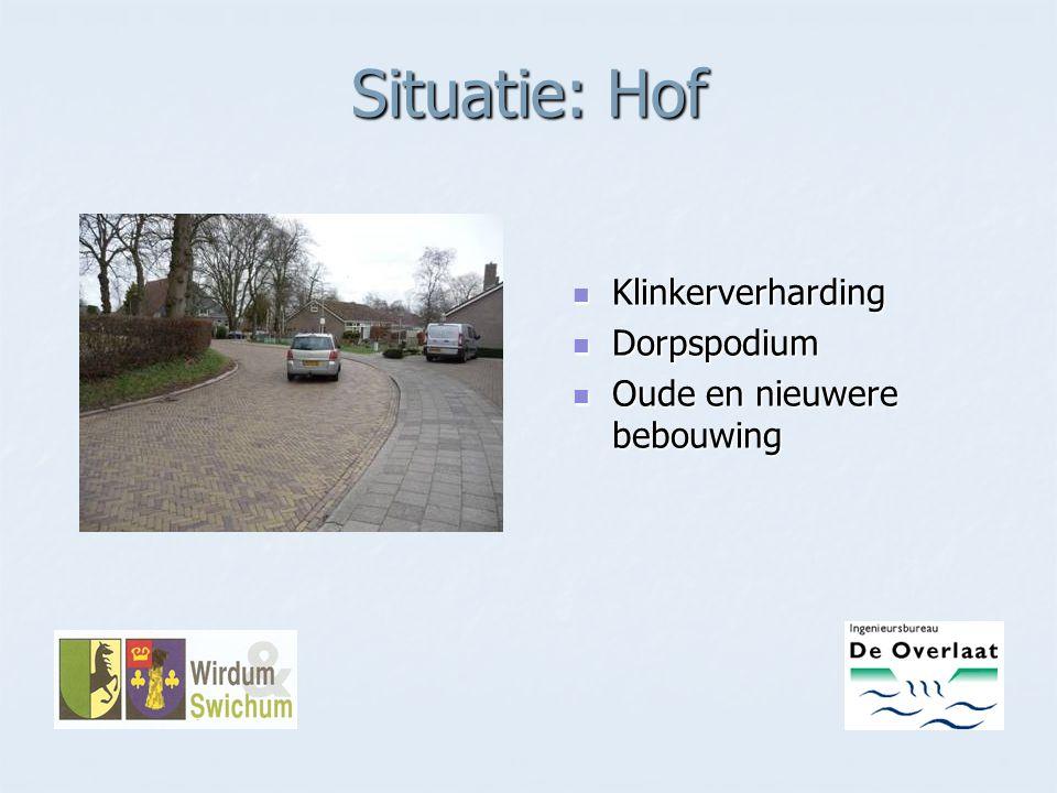 Situatie: Hof Klinkerverharding Dorpspodium Oude en nieuwere bebouwing