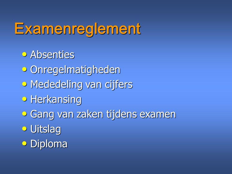 Examenreglement Absenties Onregelmatigheden Mededeling van cijfers