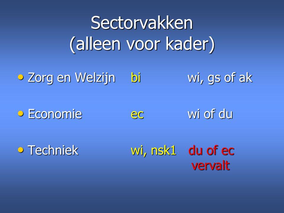 Sectorvakken (alleen voor kader)