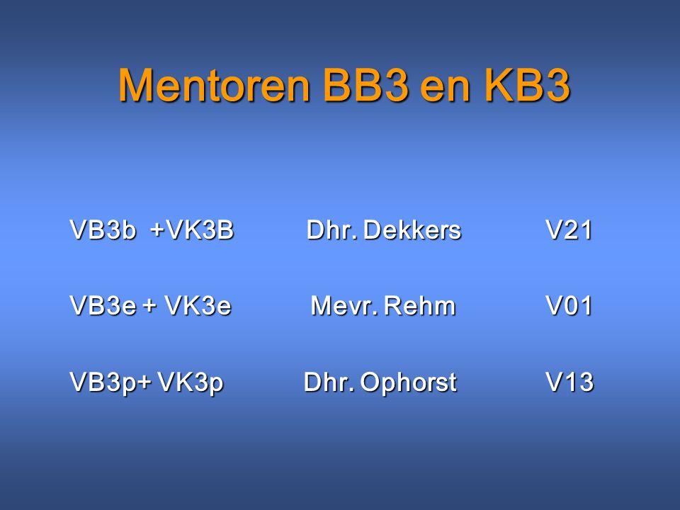 Mentoren BB3 en KB3 VB3b +VK3B Dhr. Dekkers V21