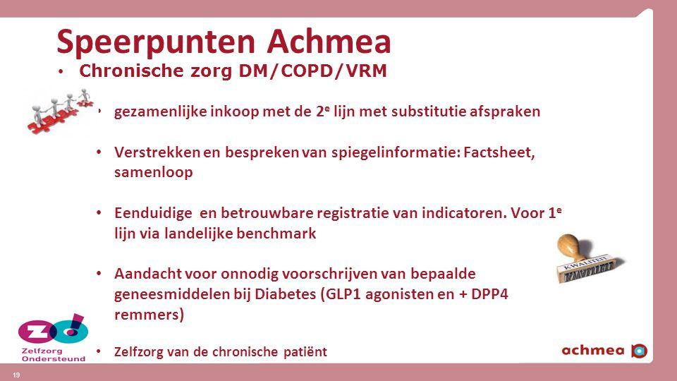 Speerpunten Achmea Chronische zorg DM/COPD/VRM