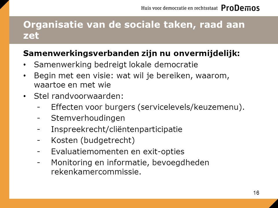 Organisatie van de sociale taken, raad aan zet