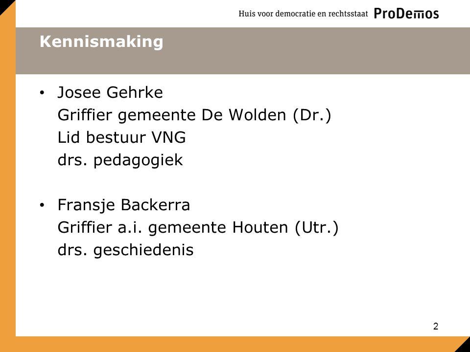 Kennismaking Josee Gehrke. Griffier gemeente De Wolden (Dr.) Lid bestuur VNG. drs. pedagogiek. Fransje Backerra.