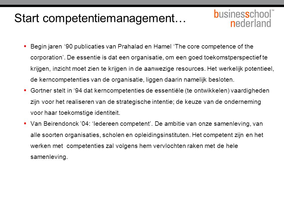 Start competentiemanagement…