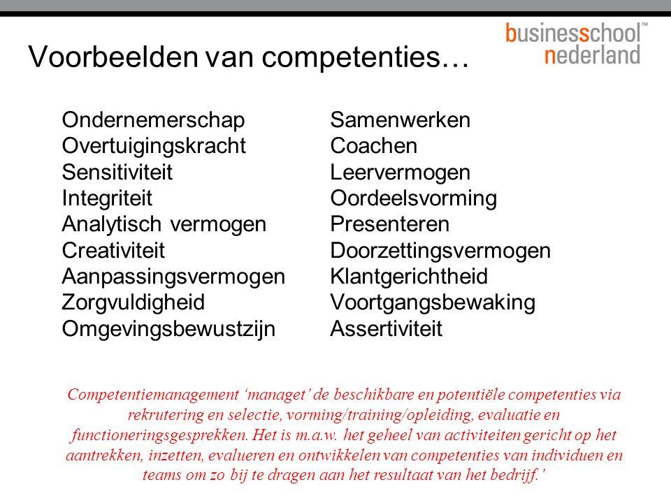 Voorbeelden van competenties…
