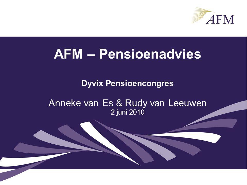 AFM – Pensioenadvies Dyvix Pensioencongres