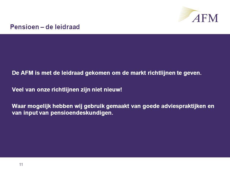 Pensioen – de leidraad De AFM is met de leidraad gekomen om de markt richtlijnen te geven. Veel van onze richtlijnen zijn niet nieuw!