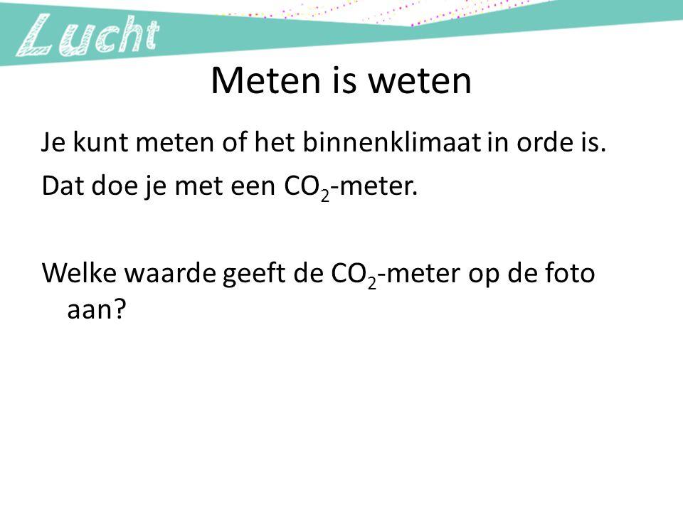 Meten is weten Je kunt meten of het binnenklimaat in orde is. Dat doe je met een CO2-meter. Welke waarde geeft de CO2-meter op de foto aan