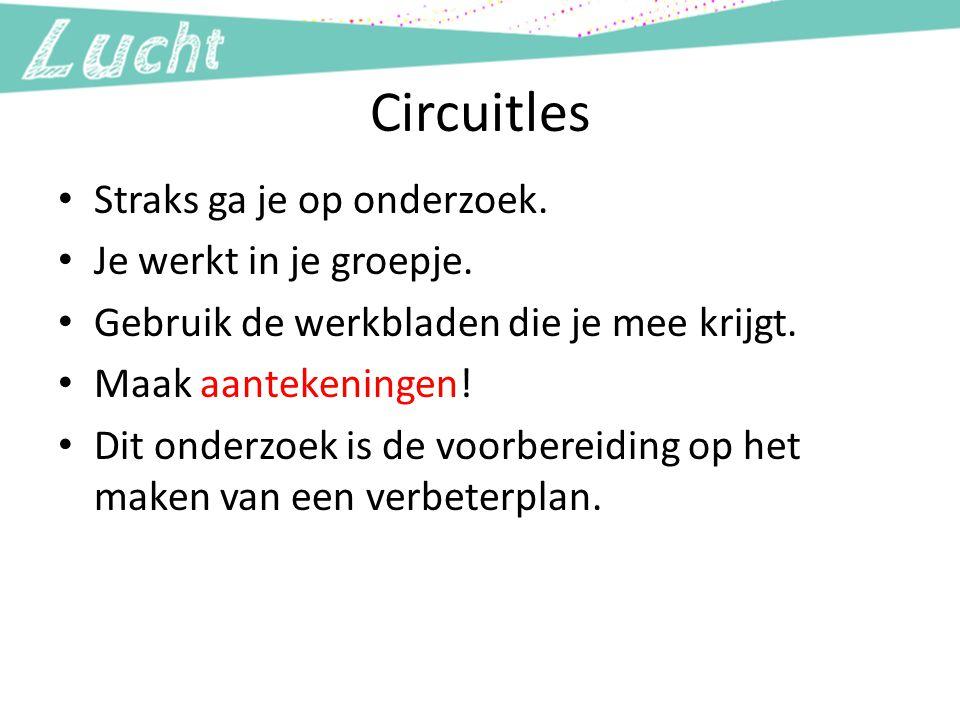 Circuitles Straks ga je op onderzoek. Je werkt in je groepje.