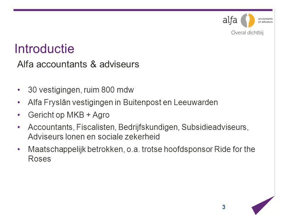 Introductie Alfa accountants & adviseurs 30 vestigingen, ruim 800 mdw