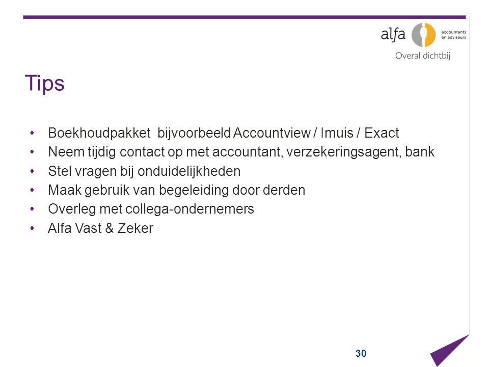 Tips Boekhoudpakket bijvoorbeeld Accountview / Imuis / Exact