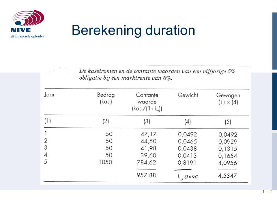 Berekening duration