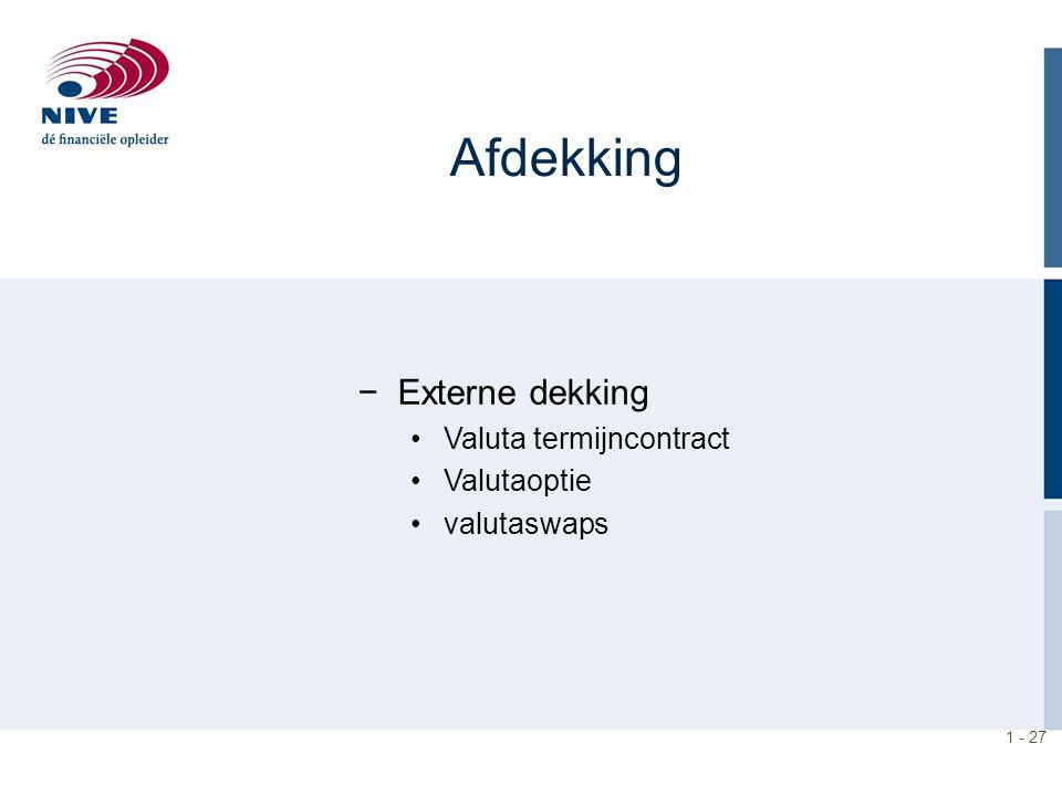 Afdekking Externe dekking Valuta termijncontract Valutaoptie