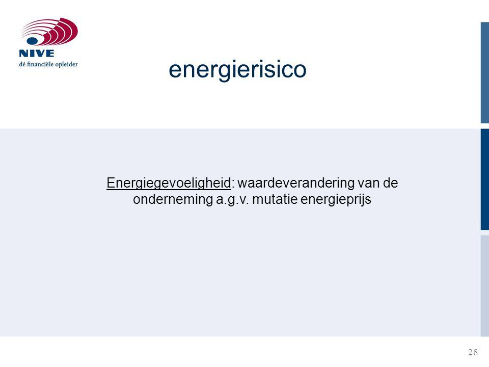 energierisico Energiegevoeligheid: waardeverandering van de onderneming a.g.v. mutatie energieprijs