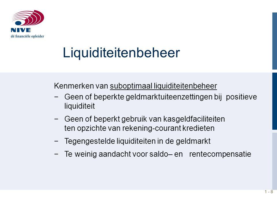 Liquiditeitenbeheer Kenmerken van suboptimaal liquiditeitenbeheer