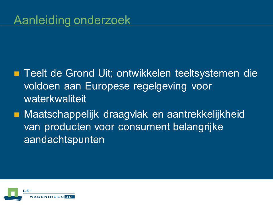 Aanleiding onderzoek Teelt de Grond Uit; ontwikkelen teeltsystemen die voldoen aan Europese regelgeving voor waterkwaliteit.