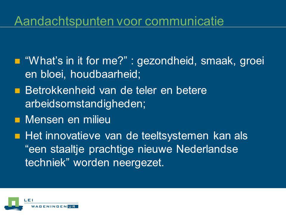Aandachtspunten voor communicatie
