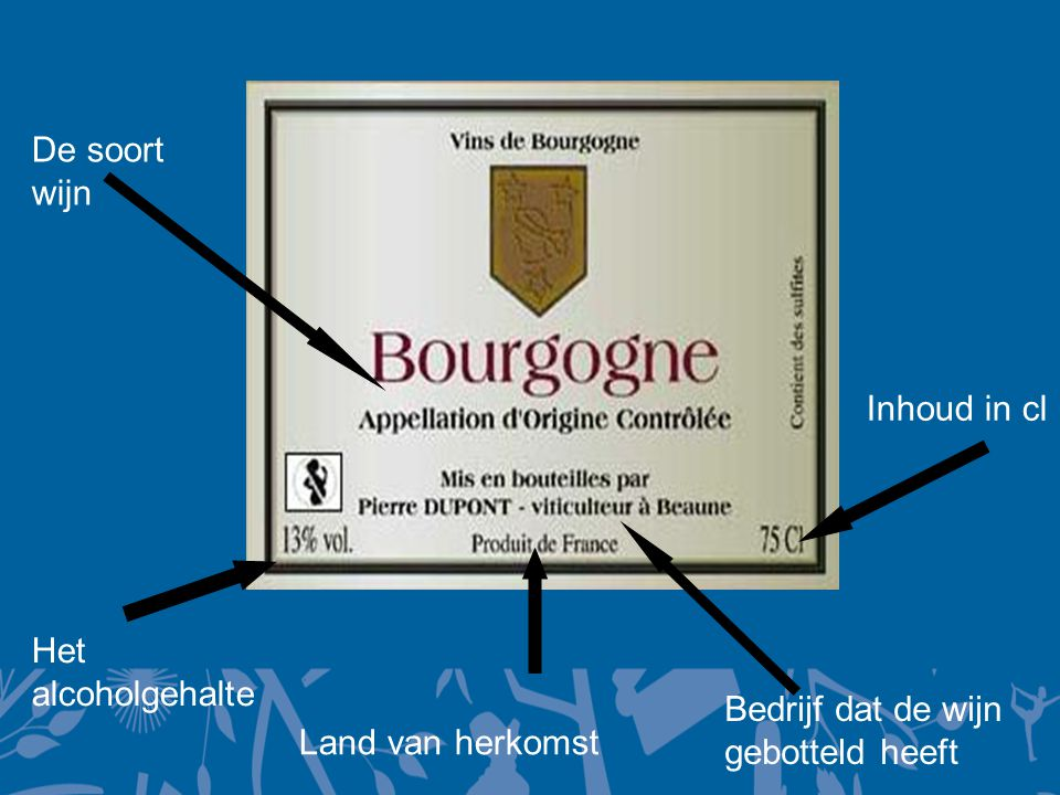 De soort wijn Inhoud in cl Het alcoholgehalte Bedrijf dat de wijn gebotteld heeft Land van herkomst