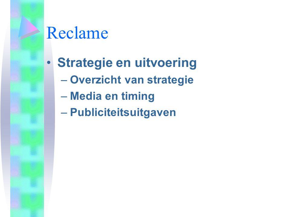 Reclame Strategie en uitvoering Overzicht van strategie
