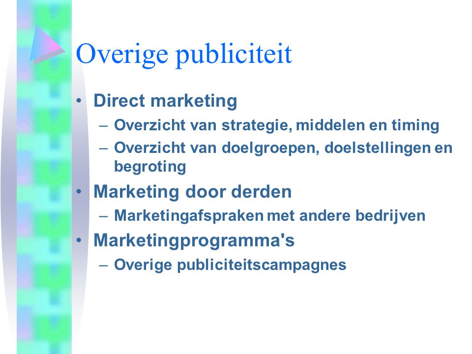 Overige publiciteit Direct marketing Marketing door derden