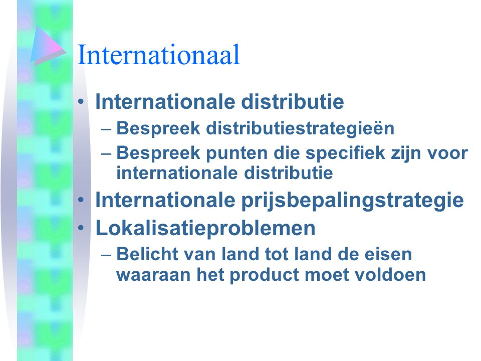 Internationaal Internationale distributie